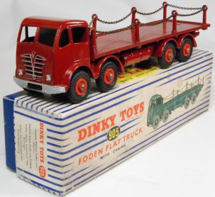 Dinky 1954 DINKY #905 FODEN FLAT TRUCK WITH CHAINS, 2ND CAB, MAROON, EXCELLENT/BOX!