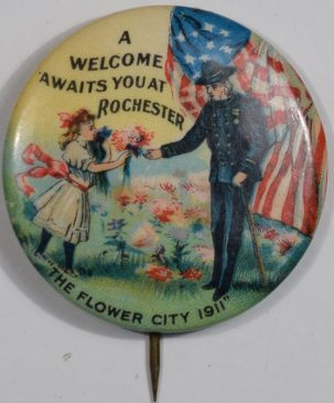 Other Collectibles 1911 G.A.R. ROCHESTER NY, A WELCOME AWAITS YOU.. 1 1/2″ BUTTON-RARE! near MINT