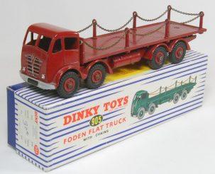 Dinky 1954 DINKY #905 FODEN FLAT TRUCK W/ CHAINS, 2ND CAB, nr-MINT+ W/ nr-MINT BOX