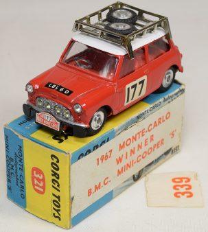 Corgi 1967 CORGI #339 MINI COOPER S RALLYE MONTE CARLO near-MINT W/ VG+ BOX