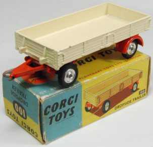 Corgi 1957 CORGI #100 DROPSIDE TRAILER, CREAM/RED MINT W/ VG BOX