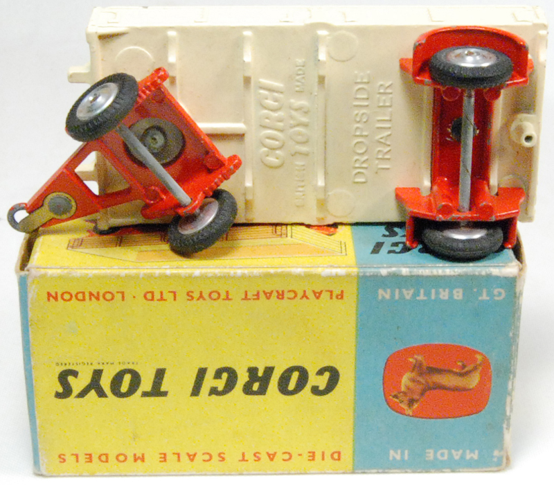 Corgi 1957 CORGI #100 DROPSIDE TRAILER, CREAM/RED MINT W/ VG BOX
