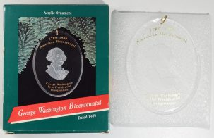 Other Collectibles 1989 GEORGE WASHINGTON BICENTENNIAL HALLMARK ACRYLIC CHRISTMAS ORNAMENT NEW BOX