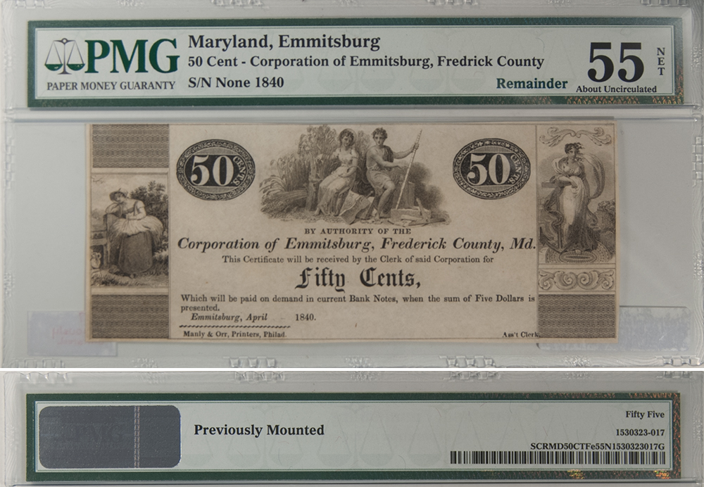 U.S. Currency 1840 50 CENTS CORPORATION OF EMMITSBURG, FREDERICK COUNTY, MD PMG NET AU-55