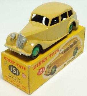 Dinky 1961 DINKY #151 TRIUMPH 1800 SALOON, FAWN w/ GREEN HUBS nr-MINT w/ nr-MINT BOX