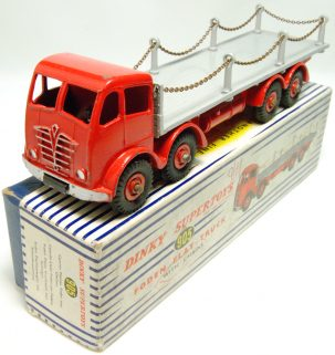 Dinky 1954 DINKY #905 FODEN CHAIN LORRY, RED/GREY EXC w/ EXC BOX