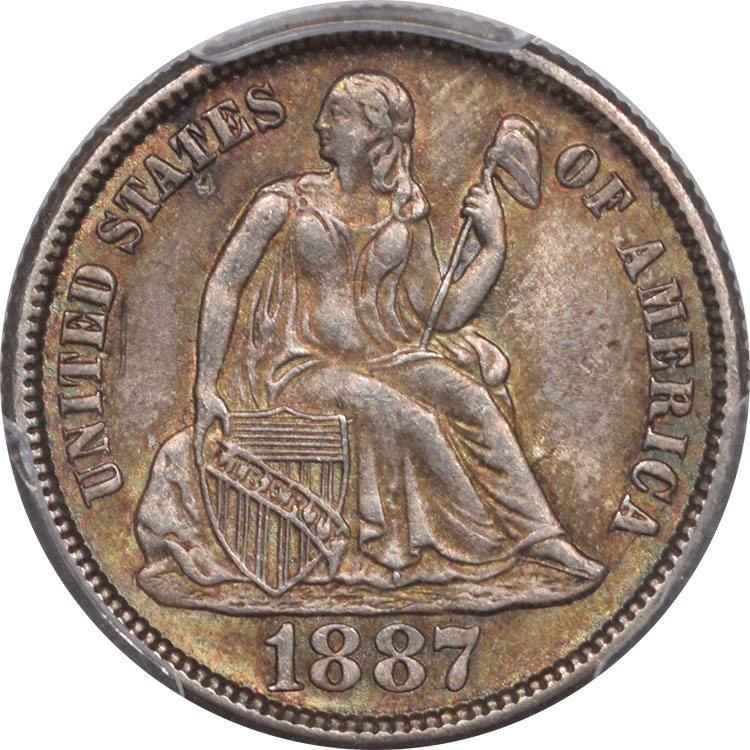 Liberty Seated Dimes 1887 LIBERTY SEATED DIME PCGS MS-64