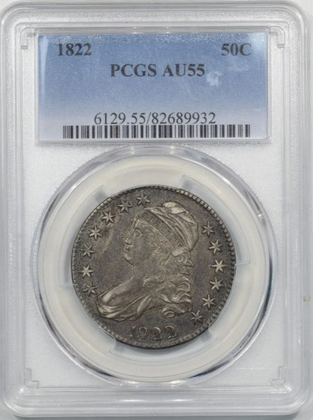 Early Halves 1822 CAPPED BUST HALF DOLLAR PCGS AU-55
