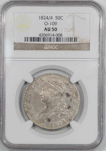 Coin World/Numismatic News Featured Coins 1824/4 CAPPED BUST HALF DOLLAR NGC AU-50, O-109