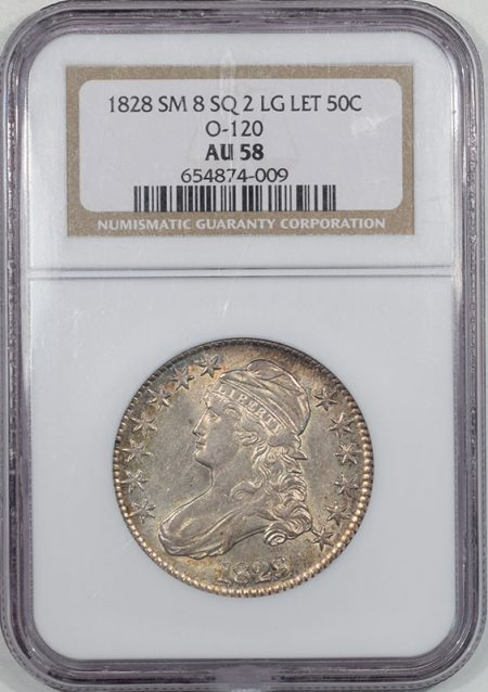 Coin World/Numismatic News Featured Coins 1828 CAPPED BUST HALF DOLLAR – SMALL 8 SQ 2 LARGE LETTERS NGC AU-58, O-120