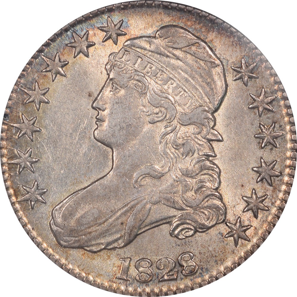 Early Halves 1828 CAPPED BUST HALF DOLLAR – SMALL 8 SQ 2 LARGE LETTERS NGC AU-58, O-120