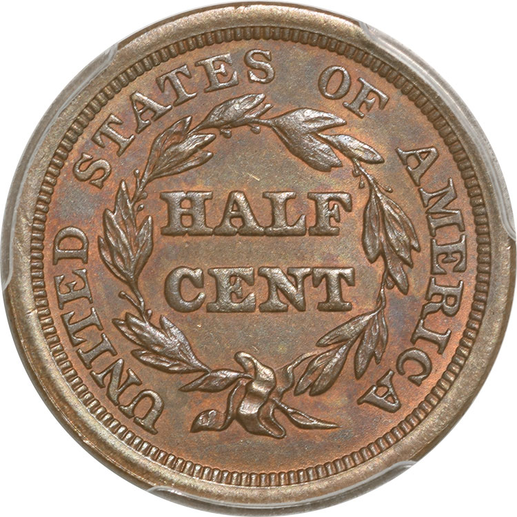 Braided Hair Half Cents 1851 BRAIDED HAIR HALF CENT PCGS MS-63 BN