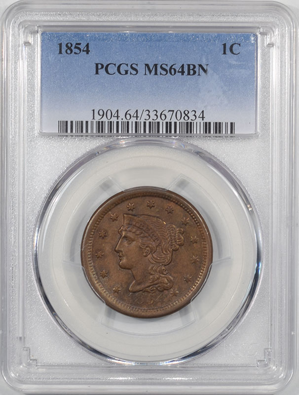 Coin World/Numismatic News Featured Coins 1854 BRAIDED HAIR CENT PCGS MS-64 BN