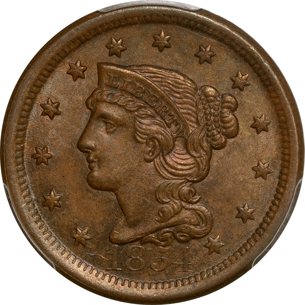 Braided Hair Large Cents 1854 BRAIDED HAIR CENT PCGS MS-64 BN