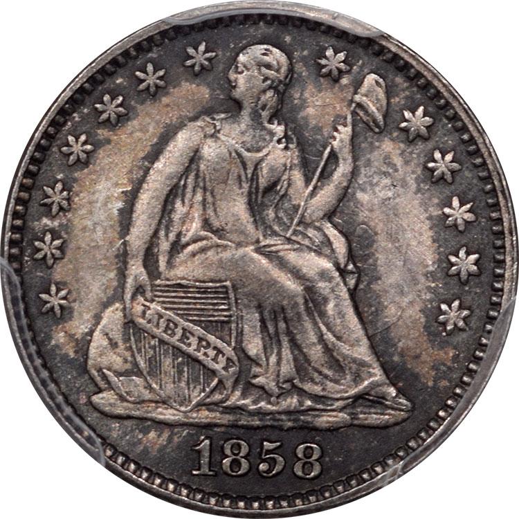 Liberty Seated Half Dimes 1858 LIBERTY SEATED HALF DIME PCGS MS-64