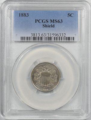 Shield Nickels 1883 SHIELD NICKEL PCGS MS-63