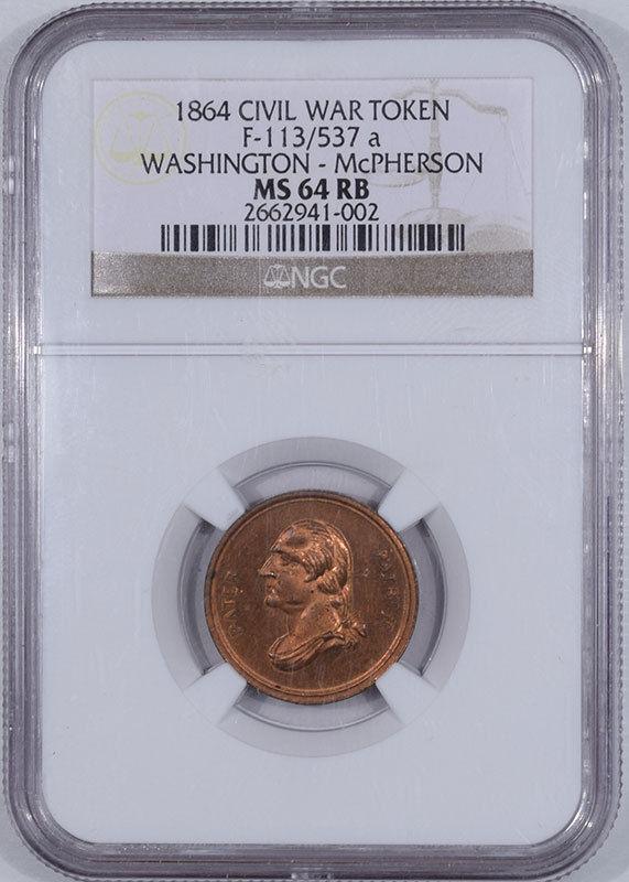 Civil War & Hard Times 1864 F-113/537A WASHINGTON-MCPHERSON COPPER PATRIOTIC CWT R-9/10 NGC MS-64 RB