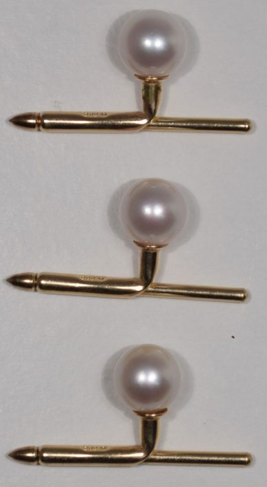 Other Collectibles 14 KT YELLOW GOLD BUTTON HOLE/LAPEL CLOSURES (3), EACH W/ A PEARL, 2.9 DWT TW