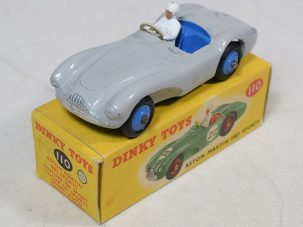 Other Collectibles DINKY #110 ASTON MARTIN DB3 SPORTS, GREY W/ BLUE HUBS EXC W/ VG ORIGINAL BOX