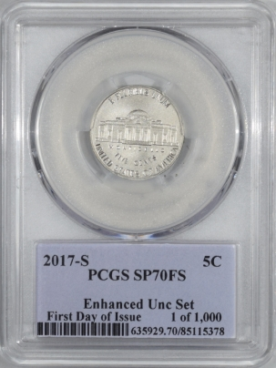 New Certified Coins 2017-S JEFFERSON NICKEL ENHANCED UNC SET – PCGS SP-70 FS