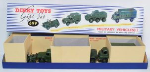 Other Collectibles DINKY #699 MILITARY VEHICLES GIFT SET VG-EXC MODELS W/NM HIGH QUALITY REPRO BOX