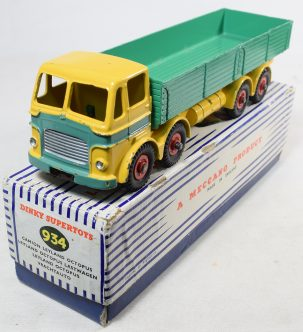 Other Collectibles DINKY #934 LEYLAND OCTOPUS WAGON, YELLOW W/ GREEN FLASH & BED, EXC ORIG COND/BOX