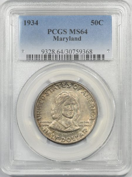 Silver 1934 MARYLAND COMMEMORATIVE HALF DOLLAR PCGS MS-64