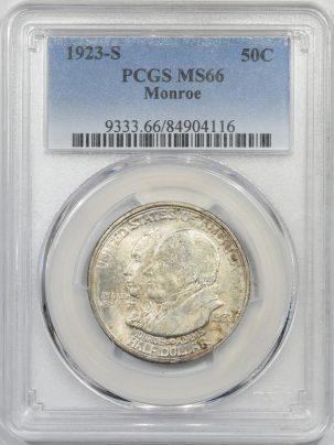 1923s-MONROE50c-PCGS-MS66-116-1