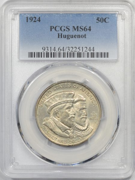 Silver 1924 HUGUENOT SILVER COMMEMORATIVE HALF DOLLAR PCGS MS-64