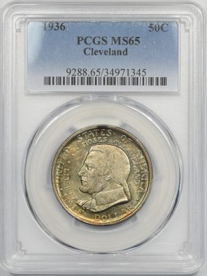 Early Commems 1936 CLEVELAND SILVER COMMEMORATIVE HALF DOLLAR PCGS MS-65