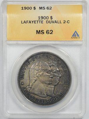 Early Commems 1900 LAFAYETTE DUVALL 2-C COMMEMORATIVE DOLLAR ANACS MS-62
