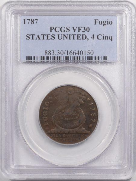 1787-FUGIO-STATES-UNITED-4CINQ-PCGS-VF30-150-1