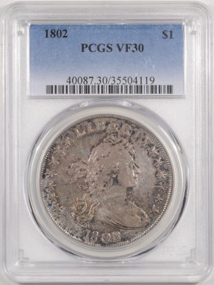 Early Dollars 1802 DRAPED BUST DOLLAR PCGS VF-30
