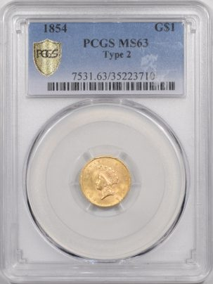 Coin World/Numismatic News Featured Coins 1854 $1 GOLD DOLLAR – TY II PCGS MS-63 PREMIUM QUALITY!