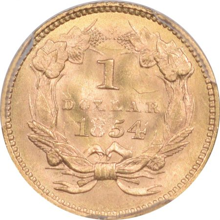 $1 1854 $1 GOLD DOLLAR – TY II PCGS MS-63 PREMIUM QUALITY!