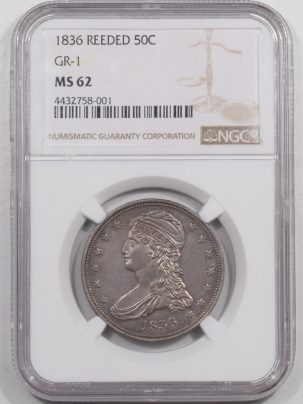 Coin World/Numismatic News Featured Coins 1836 CAPPED BUST HALF DOLLAR – REEDED GR-1 NGC MS-62