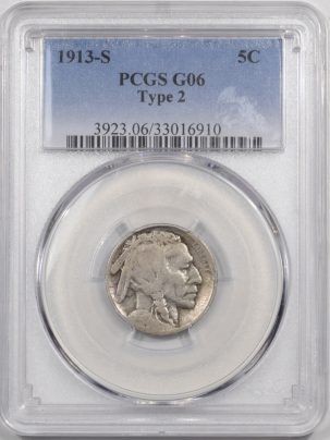 Buffalo Nickels 1913-S BUFFALO NICKEL TY II PCGS G-6