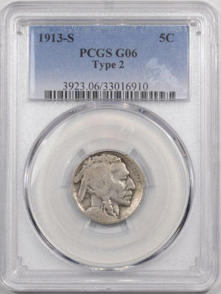 Buffalo Nickels 1913-S BUFFALO NICKEL TY II PCGS G-6