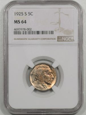 Buffalo Nickels 1925-S BUFFALO NICKEL NGC MS-64
