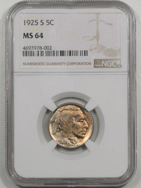 Buffalo Nickels 1925-S BUFFALO NICKEL NGC MS-64