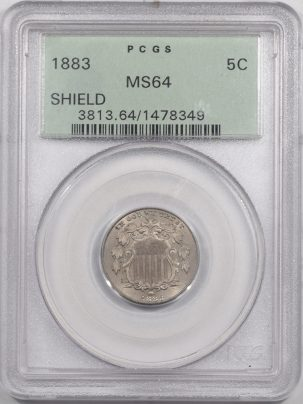 Shield Nickels 1883 SHIELD NICKEL PCGS MS-64 PREMIUM QUALITY!