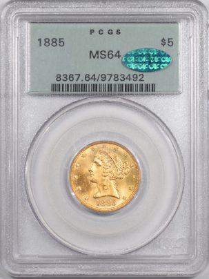 1885-5G-PCGS-MS64-CAC-492-1