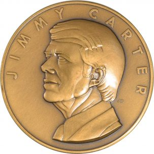 Political 1977 JIMMY CARTER OFFICIAL INAUGURAL MEDAL 71MM BRONZE GEM MATTE PROOF