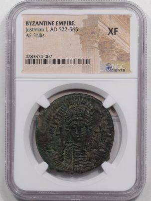 527AD-JUSTINIAN-I-AE-FOLLIS-XF-1A