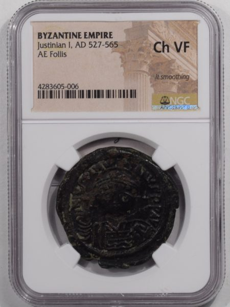 527AD-JUSTINIAN-I-AE-FOLLIS-NGC-CHVF-1A