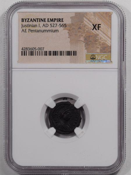 527AD-JUSTINIAN-I-AE-PENTANUMMIUM-NGC-XF-1