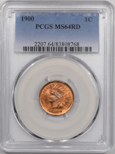Indian 1900 INDIAN CENT PCGS MS-64 RD PREMIUM QUALITY! BLAZER!