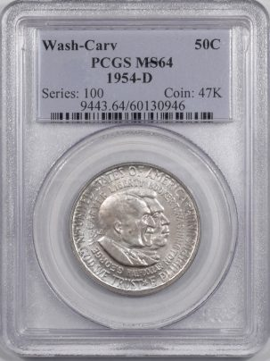 Silver 1954-D WASH-CARV COMMEMORATIVE HALF DOLLAR PCGS MS-64