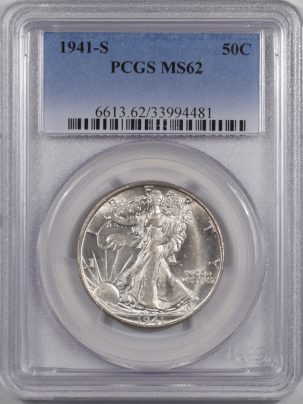 Walking Liberty Halves 1941-S WALKING LIBERTY HALF DOLLAR PCGS MS-62