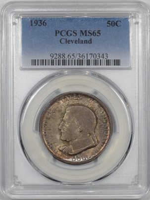 Silver 1936 CLEVELAND COMMEMORATIVE HALF DOLLAR PCGS MS-65